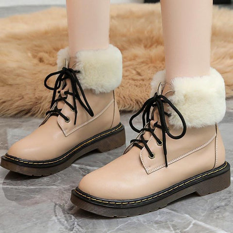 PU leather solid lace-up fur ankle boots