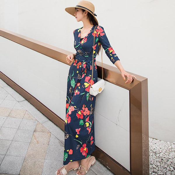V-neck print wrap maxi dresses