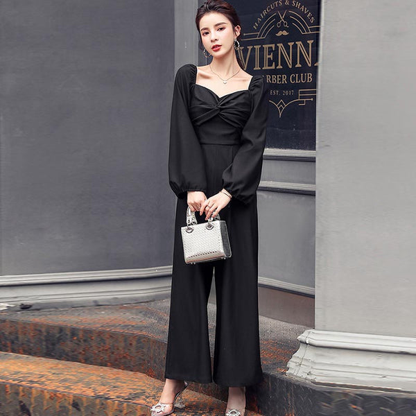Square neck high waisted wide leg jumpsuits