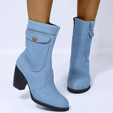 Denim solid zip vintage blocked heel ankle boots