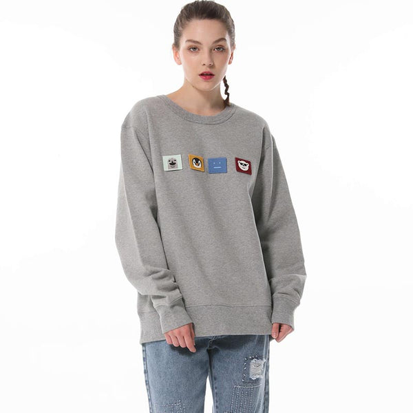 Crew neck patchwork loose sweatshirts - Fancyever