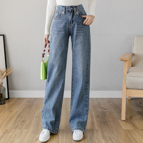 High waisted wide leg jean pants