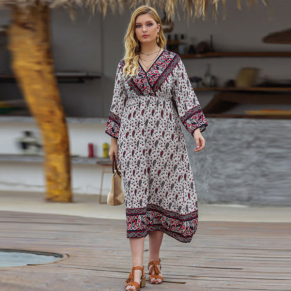 Plus size v-neck paisley print dresses