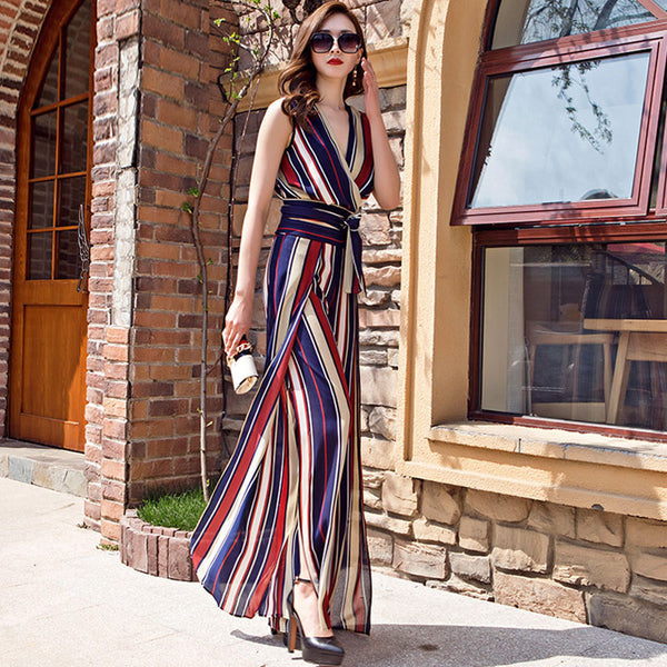 Striped v-neck tie pant suits - Fancyever