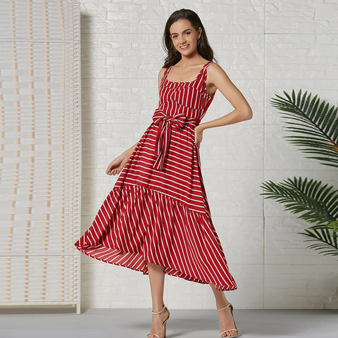 Bohemia striped belt maxi dresses - Fancyever