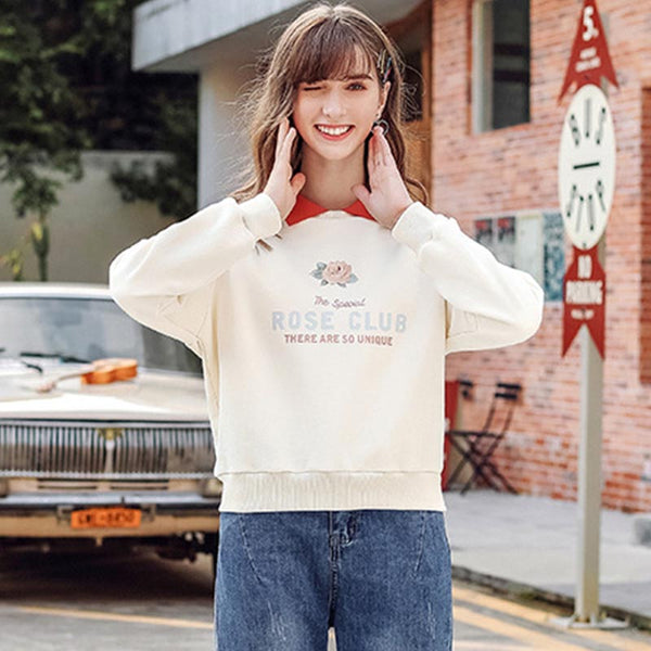 Polo collar letter print sweatshirts - Fancyever