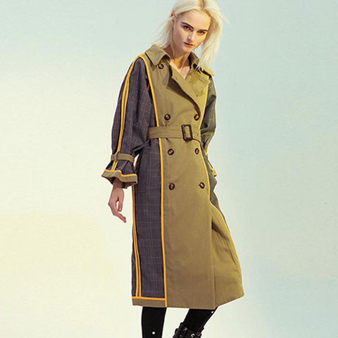 Plaid patchwork reversible belted trench coats