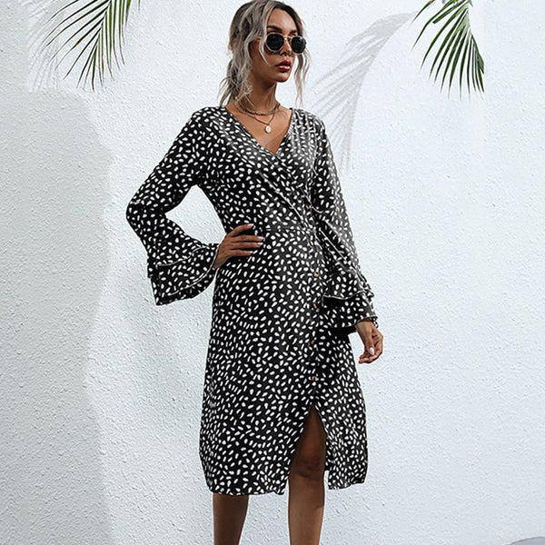 Deep v-neck dot printed split skater dresses