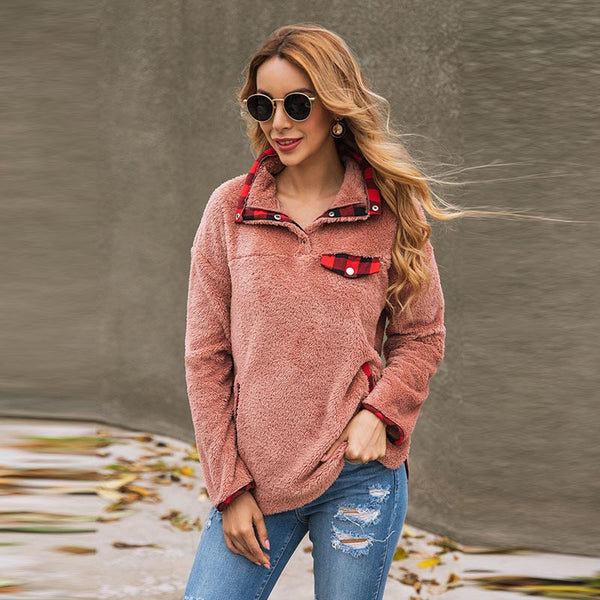Plaid patchwork thick sweatshirts - Fancyever