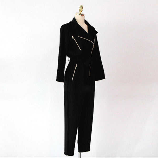 V-neck elastic waist jumpsuits with zippers