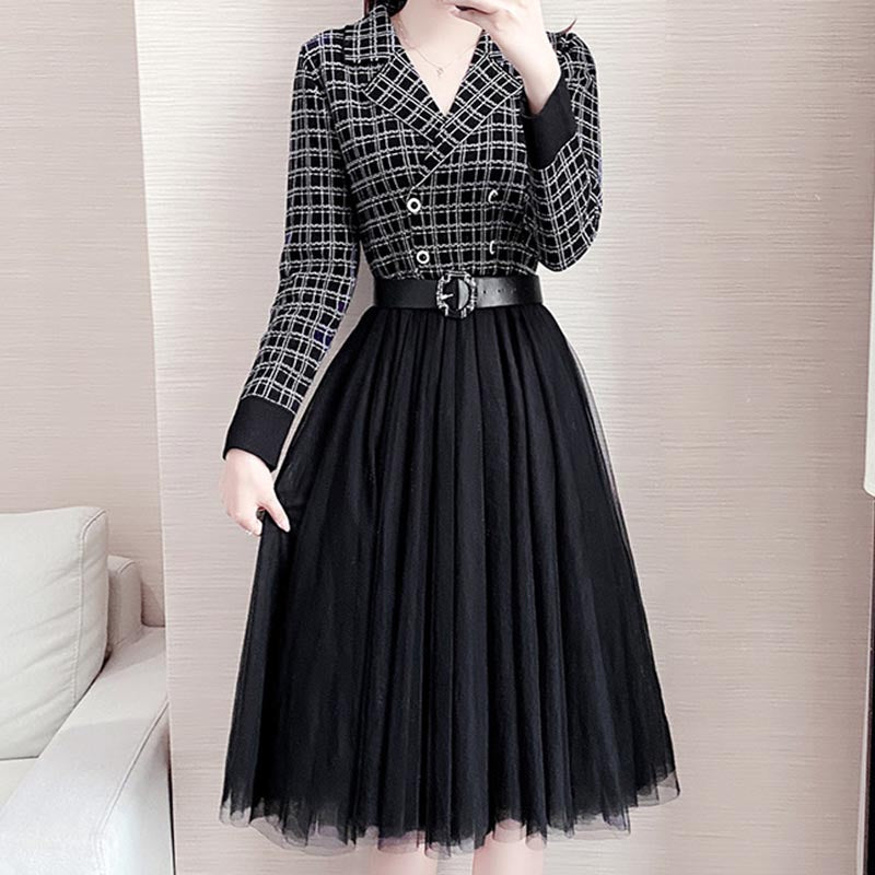 Patchwork mesh plaid blazer skater dresses
