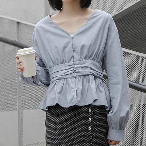 French vintage solid ruffled blouses