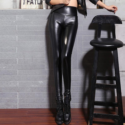 Faux leather high waitsted skinny pants
