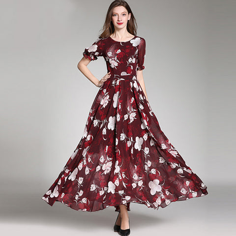 Bohemia floral gathered waist maxi dresses