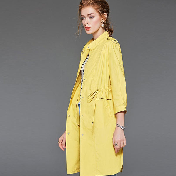 Stand collar drawcord trench coats