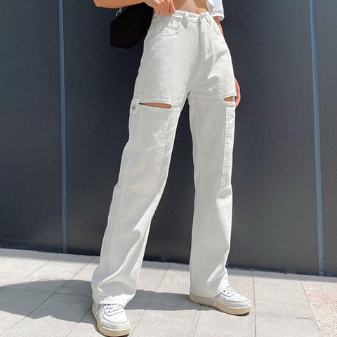 High waisted openwork wide leg jean pants