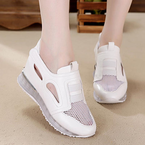 Mesh breathable wedge casual shoes