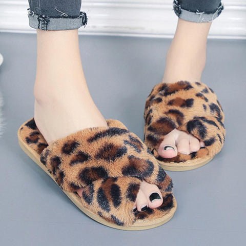 Leopard stylish fur open toe slippers