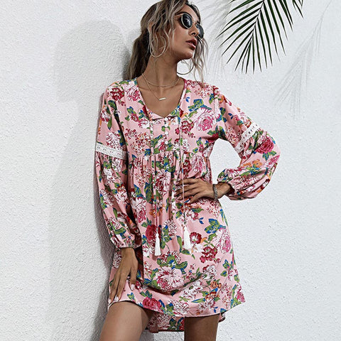 Pullover floral tie-collar shift dresses