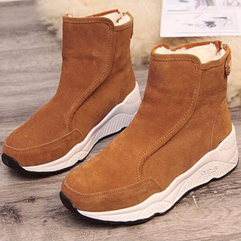 Suede solid non-slip winter boots