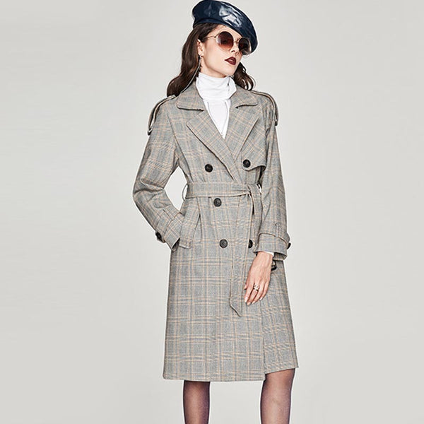 Plaid double-breasted belt trench coats - Fancyever