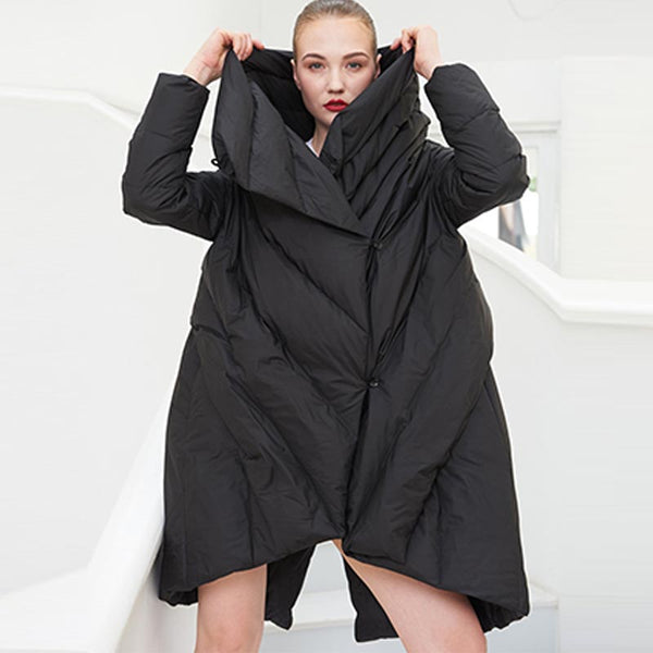 Asymmetric plus size puffer down coats