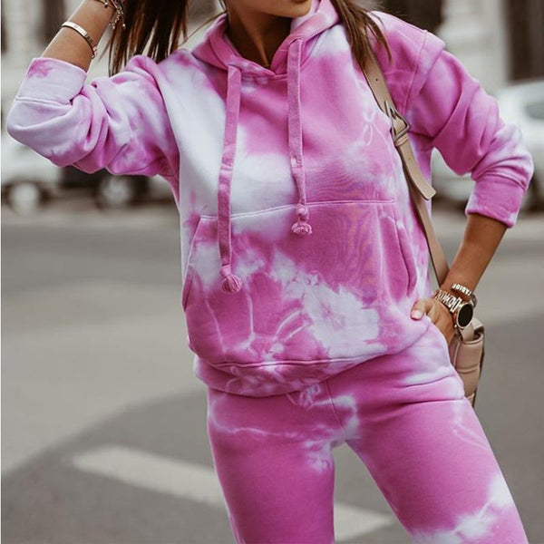 Hooded tie-dye spring suits