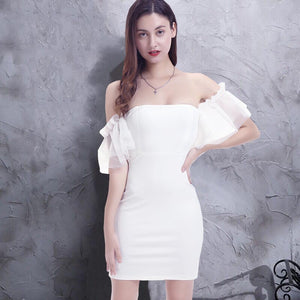 Off the shoulder ruffle mesh bodycon dresses - Fancyever