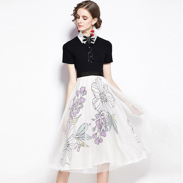 Peter pan collar print a line dresses