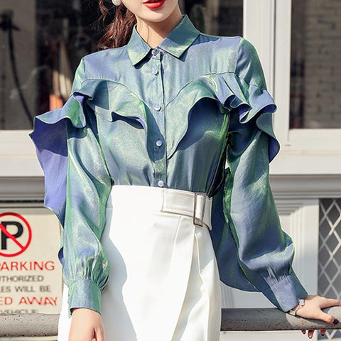 Turn down collar solid ruffled shiny blouses