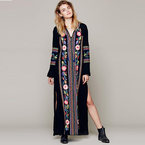 Bohemia embroidered side-slit shift maxi dresses