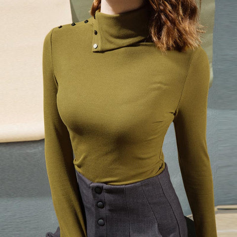 Turtleneck solid slim basic knit tops