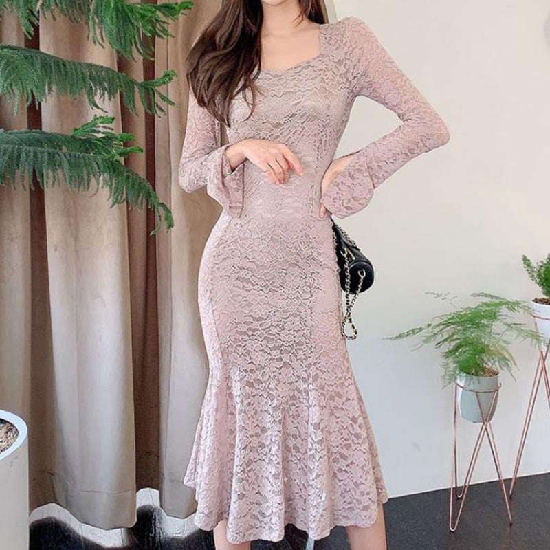 Flare sleeve lace transparent sexy bodycon dresses