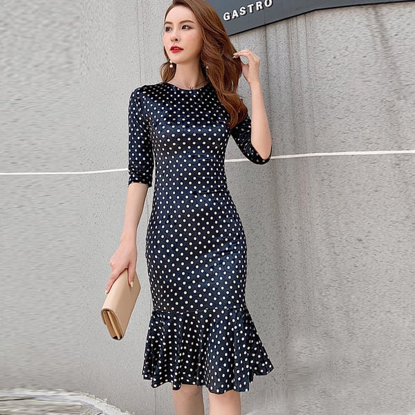 French dot print bodycon peplum dresses