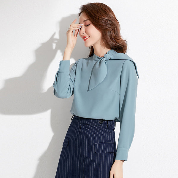 Bowknot mock neck long sleeve blouses - Fancyever