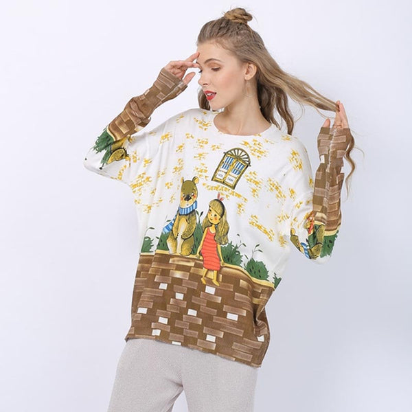 Cartoon pattern crew neck knit tops