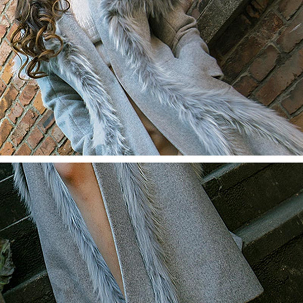Faux fur v-neck big hem coats