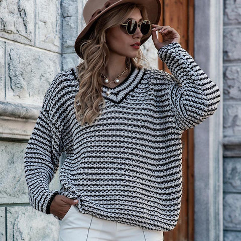 V neck loose striped sweaters