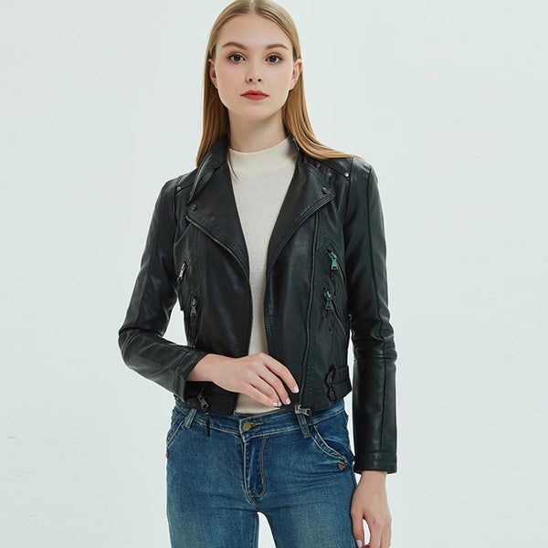 Cropped faux leather moto jackets - Fancyever