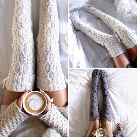 2 pairs cable knit thigh high stockings