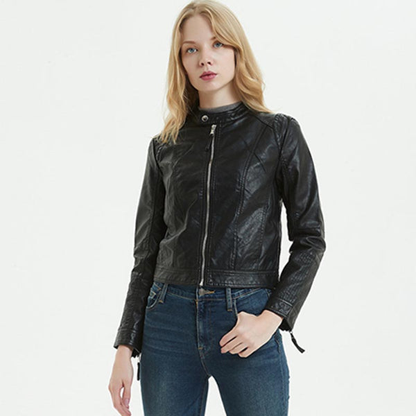 Mock neck zipper faux leather jackets - Fancyever