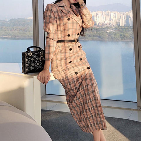 Office double-breasted plaid shift dresses