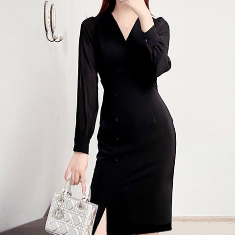 Chiffon solid puff sleeve shift dresses