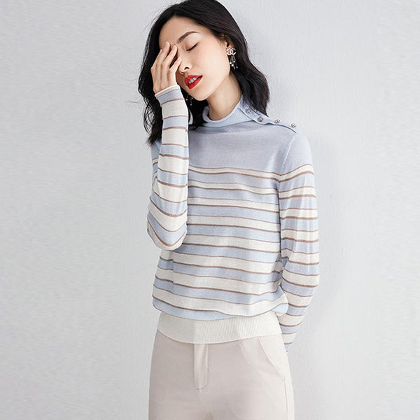 Striped half turtleneck sweaters