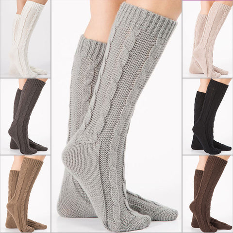 3 pairs cable knit mid calf boot socks