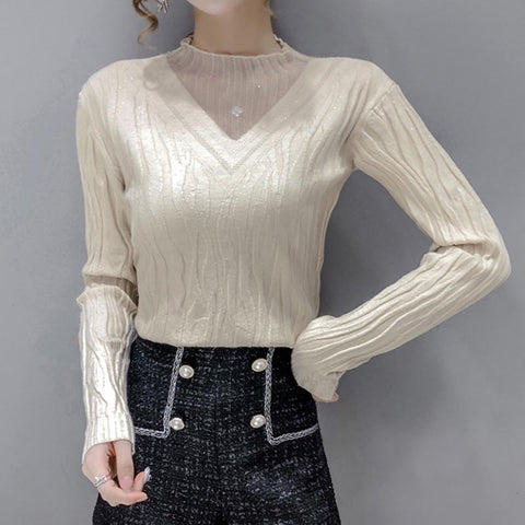 V neck patchwork lace gauze knit tops