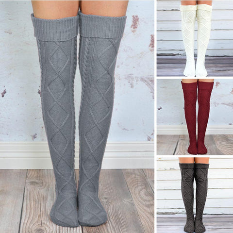 4 pairs cable thigh high stockings