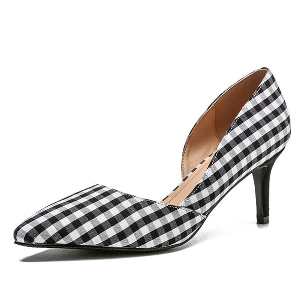 Plaid color-blocked pointed heels