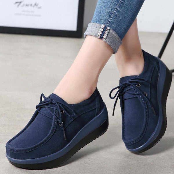 Suede solid lace-up loafers