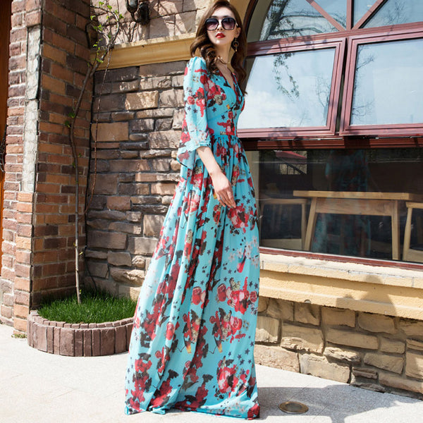 V-neck long floral dresses - Fancyever